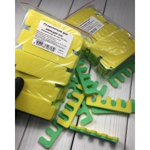 Разделители для пальцев ног 25шт/уп (жёлто-зеленые) 8 мм.