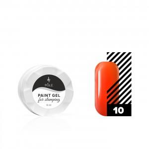 Гель-краска для стемпинга POLE №10 неоново-оранжевая (6 мл.)