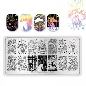 Born Pretty BP-A006 Пластина для стемпинга 12*6 см (42506) Unicorn Vs Rainbow World