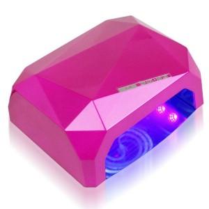 Soline Diamond 36 ватт малиновая Лампа гибрид CCFL+LED для гель лака