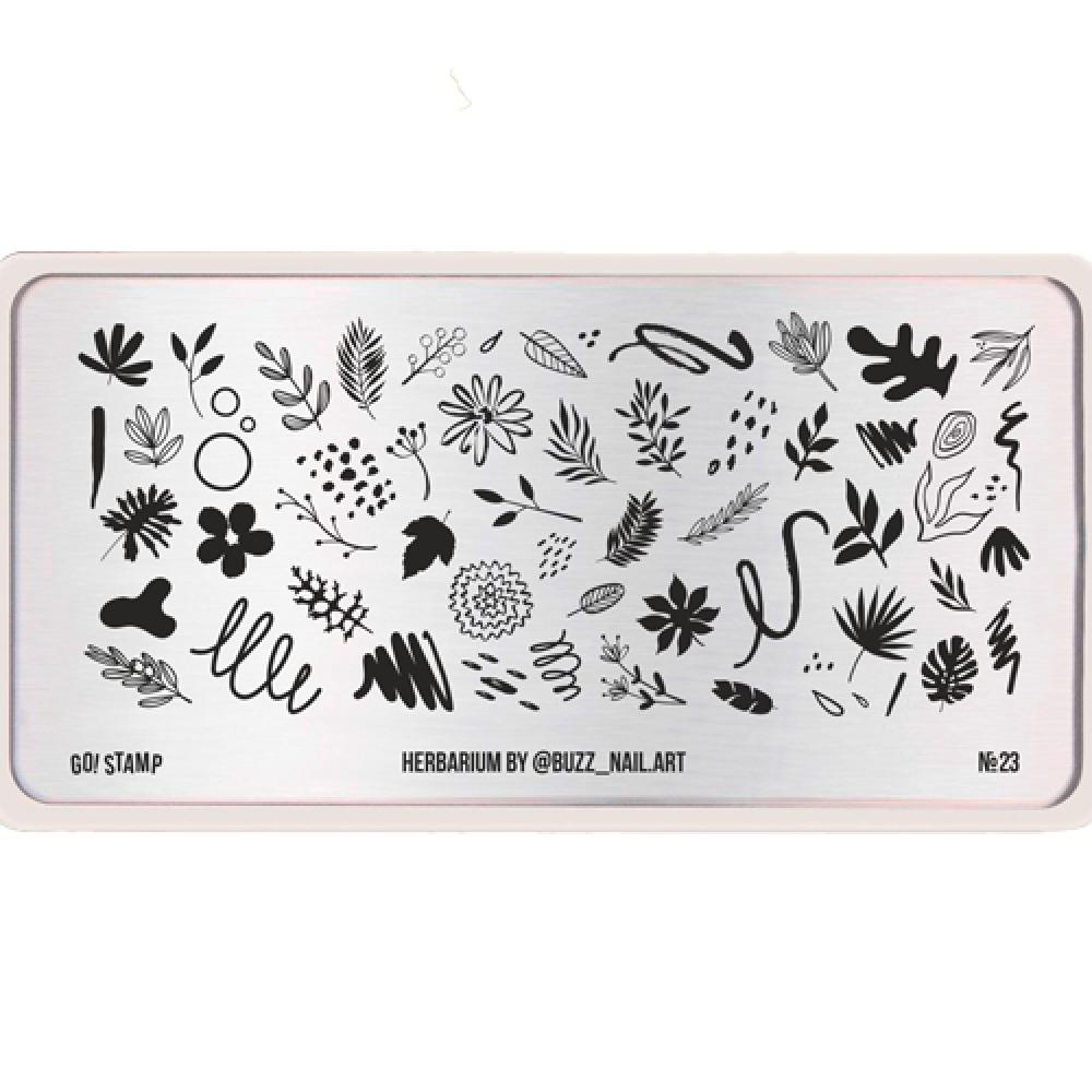 Пластина для стемпинга Go Stamp 23 Herbarium by @buzz_nail.art